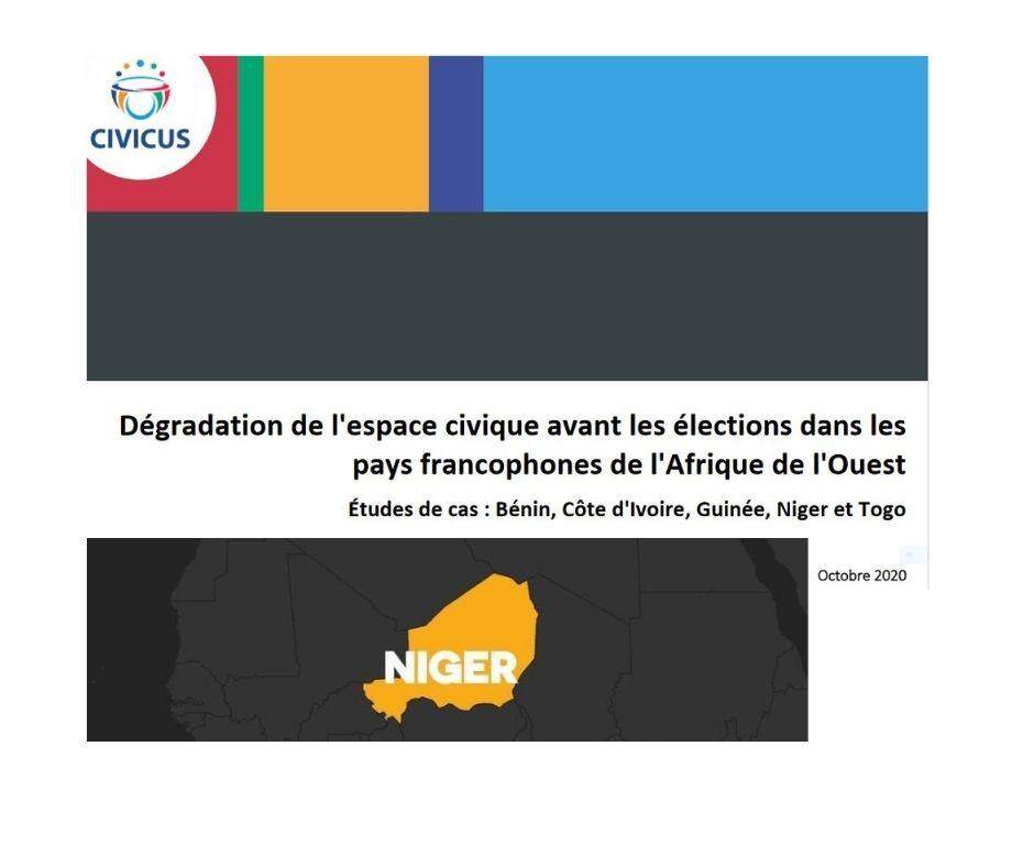 Niger: menaces immédiates et urgentes pesant sur l'espace civique du pays.